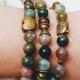 Agate Buddha Bracelet - Multi-Color Earth-tone Beaded and Brass