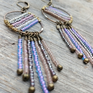 Bubblegum Pastels Brass Beaded Dangle Fringe Earrings