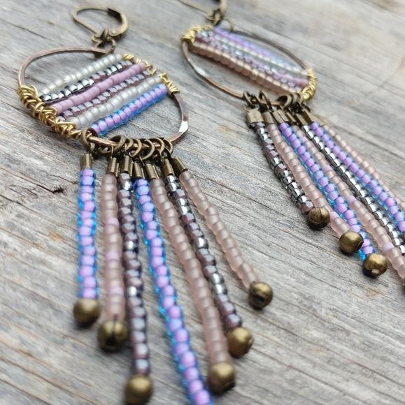 Bubblegum Pastels Brass Beaded Dangle Fringe Earrings