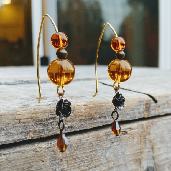 Amber Czech Glass with Brass Roses Handmade Earrings