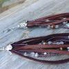 bohochic deer skin leather tassel earrings