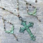 Earrings and Necklace Set - Verdigris Fleur de Lis Boho Art Neuveau