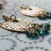 Hammered Gold Horseshoe Daisies Chandelier Pendant Earrings