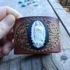 Our Lady of Guadalupe Cameo Leather Cuff - Cameo Jewelry