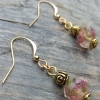 lampwork rose handmade earrings