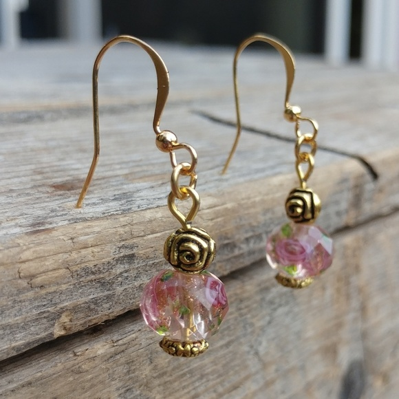 lampwork rose earrings