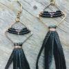 Black and pink brass diamond leather tassel earrings
