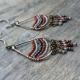 Terracotta Brass Beaded Fringe Teardrop Earrings