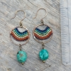 Turquoise and Rainbow Beaded Brass Earrings
