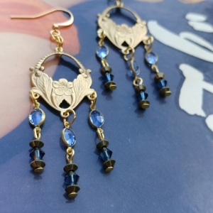 Victorian / Renaissance Swarovski Chandelier Blue Beaded Gold Earrings